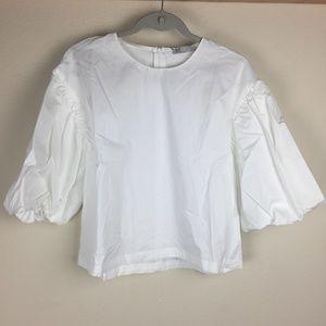 New Zara trf Prairie Sleeves White Top S